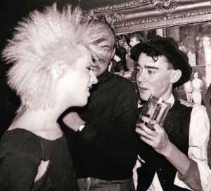 Hair and hats: deejay Tasty Tim and designer Stephen Linard at the Palace. Picture © by Shapersofthe80s