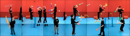 David Hockney , video installation, The Jugglers,