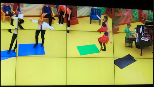Hockney's multi-screen video of tap dancing to Tea For Two. (From Parisbreakfast blog)
