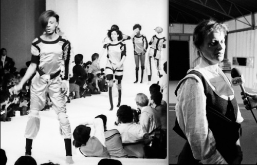 Paris, Oct 17, 1983: Jeffrey Daniel leads models in a sporty Worlds End collection. Minutes afterwards Vivienne Westwood keeps her cool with the press. Pictures © by Shapersofthe80s