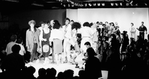 End of the world: The last public appearance together by Malcolm McLaren and Vivienne Westwood, Oct 17, 1983. As they take the applause for their Paris show, a bitter battle for control of the Worlds End label is raging behind the scenes. Picture © by Shapersofthe80s
