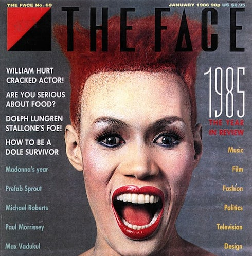 The Face , Grace Jones, Nick Logan, Neville Brody, design, magazines