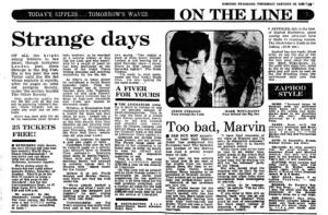 Steve Strange, On The Line, Evening Standard