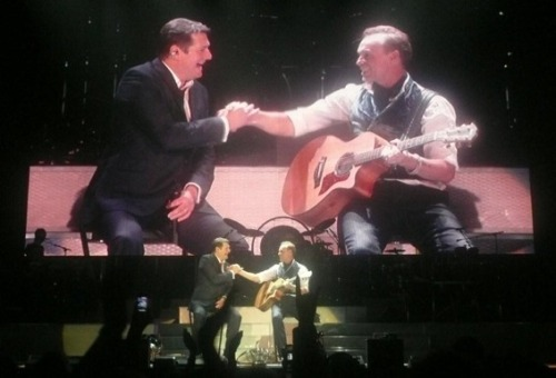 Hadley and Kemp shake hands after their duet