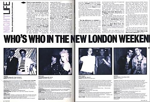London,Chris Sullivan, Dirt Box, Mud Club,Wag club, White Trash, Philip Sallon, Nightlife ,The Face, Swinging 80s, clubbing