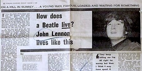 Evening Standard,Maureen Cleave, Lennon, interview, More popular than Jesus, How does a Beatle live?