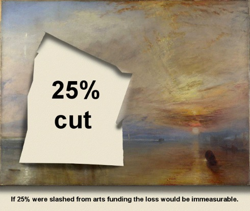 Reckless ,Mark Wallinger, The Fighting Temeraire, Turner ,National Gallery, arts cuts, petition, protest