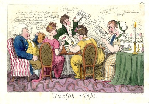 Twelfth Night,Isaac Cruikshank, Thomas Tegg,etching,parlour games