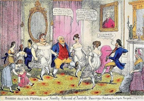 Bobbin' about to the Fiddle ,Charles Williams, 1817,Thos Tegg,caricature, Almack's,quadrille,dancing,Lady Jersey,