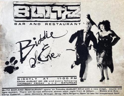 Biddie & Eve, Eve Ferret, James Biddlecombe, Blitz club, London, 1970s