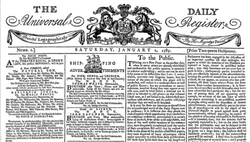 Universal Daily Register, 1785, newspapers, The Times