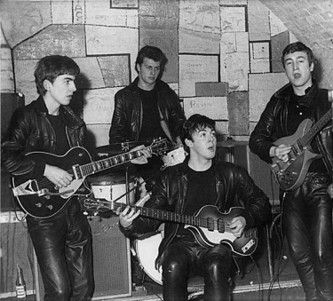 Their regular gig: The early Beatles at the Cavern club in 1961 with Pete Best on drums