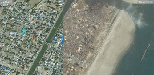 Sendai, Japan, Arahama, satellite photos, tsunami, devastation