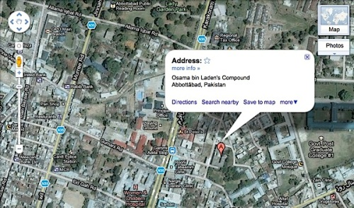 Osama Bin Laden's compound,Pakistan, Google maps