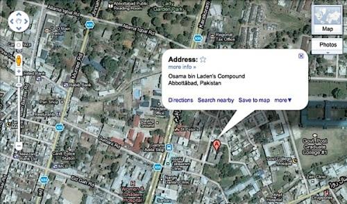 Osama Bin Laden's compound,Pakistan, Google maps