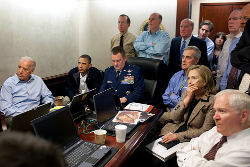 Barack Obama, situation room, White House, Bin Laden raid,Hillary Clinton