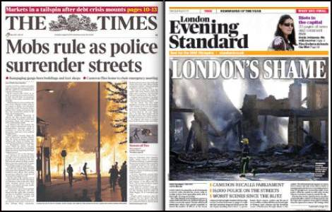 The Times, Evening Standard, London riots, August 9,front pages,newspapers