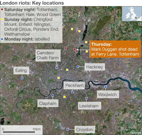London riots, London map
