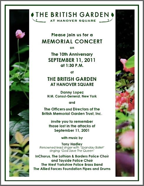 9/11, Memorial Concert, British Garden, Hanover Square, NYC, Tony Hadley, Danny Lopez,