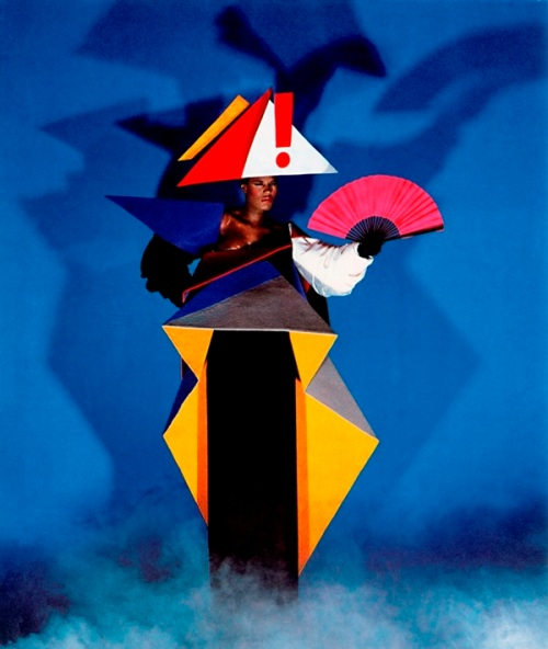 Grace Jones, maternity dress,Jean-Paul Goude , Antonio Lopez, V&A, blockbuster, exhibition, Postmodernism,bricolage,