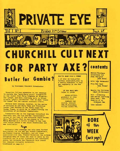 Private Eye, First 50 Years,magazine covers,satire