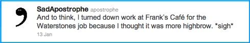 SadApostrophe, Twitter, Waterstones,Franks,grammar