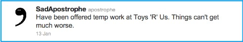 SadApostrophe, Twitter, Waterstones,ToysRUs,grammar