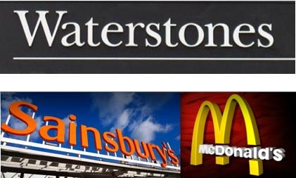 Waterstones, Sainsbury's, McDonald's, logos