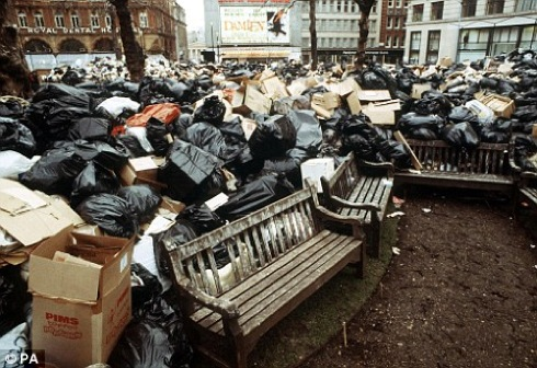 """""""winter of discontent"""" ,  Leicester Square, strikes,"""