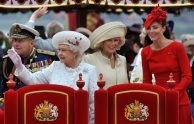 Aboard Chartwell: Prince Philip, the Queen, Camilla the Duchess of Cornwall and Kate the Duchess of Cambridge (Photo: AFP)