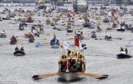 Gloriana was a privately built barge rowed by UK champions (Photo: Andy Rain)
