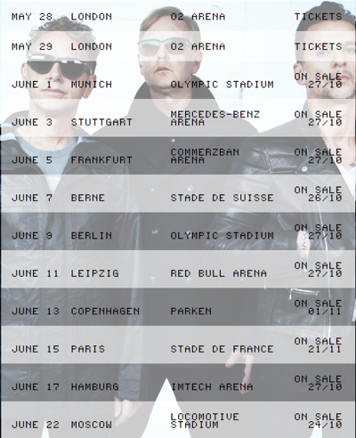 Depeche Mode, 2013, Stadium Tour, dates, Europe, pop music