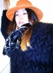 Luxurious D&G mohair jumper/dress, orange Lulu-style hat, YSL scarf