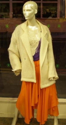 Roland Klein vintage coat, YSL Rive Gauche orange skirt