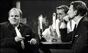Roy Kinnear, David Frost, Lance Percival, TW3, satire, 1960s