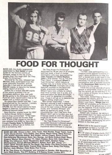 Do They Know It's Christmas?, Midge Ure, Bob Geldof, Band Aid, Record Mirror, cuttings