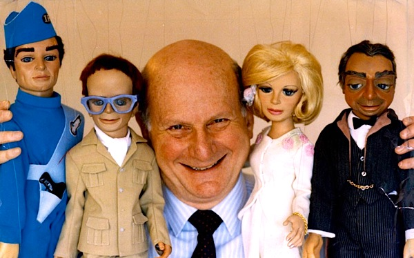 Futuristic puppet stars gerry anderson with virgil brains lady