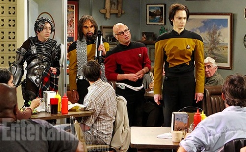 Big Bang characters decoded L-R: Howard is dressed as an evil member of the Borg, Raj as the Klingon security chief Lt Worf, Leonard as the intrepid Capt Jean-Luc Picard, and Sheldon as the android Lt. Commander Data. (© Monty Brinton/CBS © 2012 CBS Broadcasting, Inc)