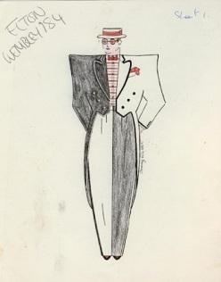 Nutter sketch for Elton John stagewear, 1984