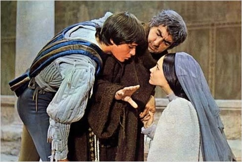 O'Shea as Friar Laurence in Zeffirelli's Romeo and Juliet, 1968: with Leonard Whiting and Olivia Hussey