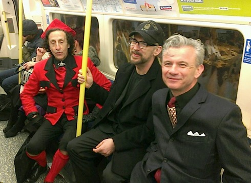 Incognito on the Northern Line: Philip Sallon, Jarvis Cocker and mystery man. Photo by Tony Vickers