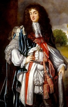 More usual royal swagging and drapery in this portrait, Charles II of England by Simon Verelst (The Royal Collection)