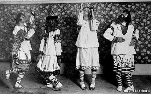 Choreographer and dancer Vaslav Nijinsky, left, in the original Rite of Spring performed by the Ballets Russes