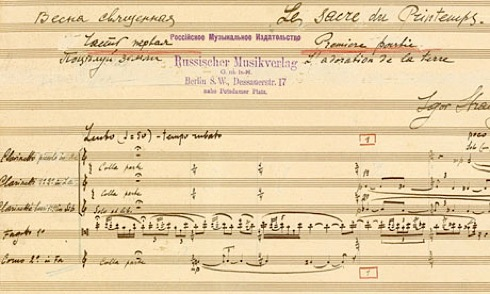 A section of a facsimile of Stravinsky's manuscript for Rite of Spring, which was published this year to mark the centenary