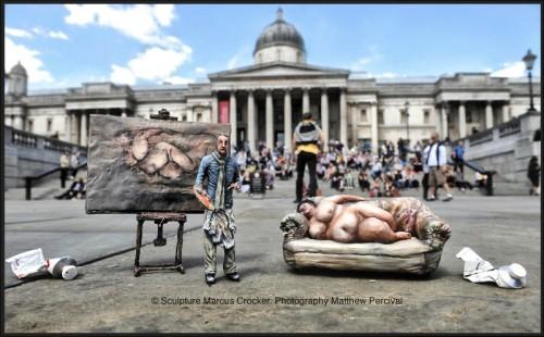 Sue Tilley , Marcus Crocker, Red Cross, sculpture, refugee week, Lucian Freud