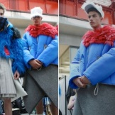 Charles Jeffrey: dramatic menswear based on the Scottish Independence referendum