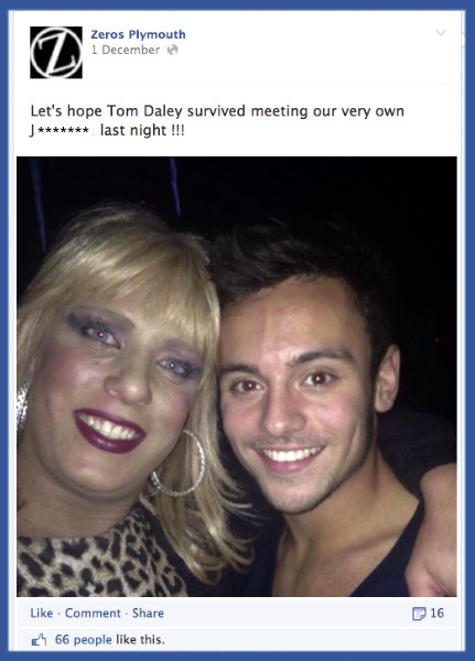 Tom Daley,Plymouth, Zeros, gay club
