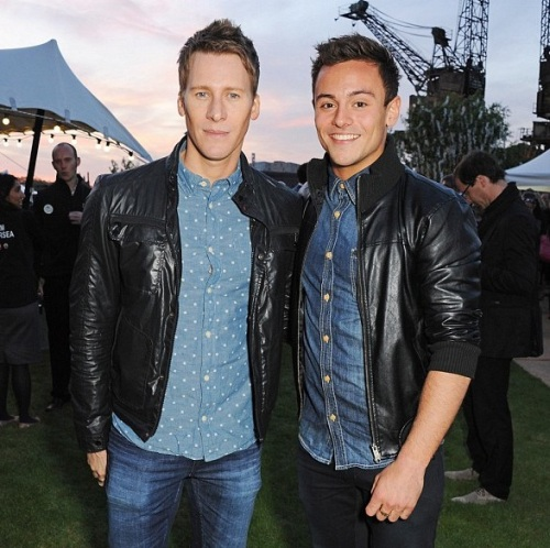 Tom Daley ,  Lance Black ,papped, Battersea Power Station, London