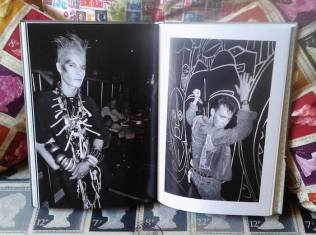 Chris Hambleton's own snap of the book with him at the Batcave, left, and designer Stephen Linard at the Wag, right