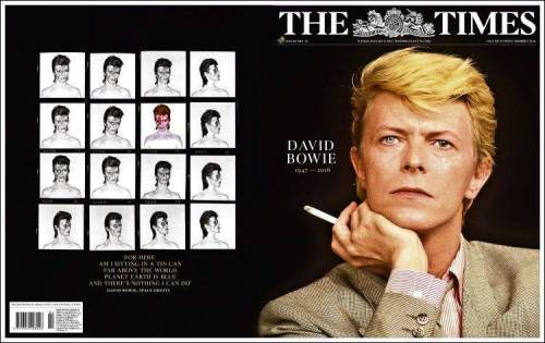David Bowie, death, obituaries, tributes, rock music, TheTimes, UK, newspapers
